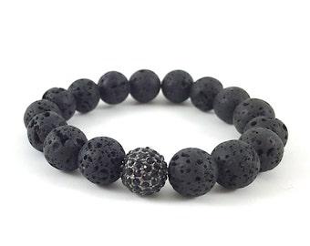 Diffuser Bracelet, Lava Beaded Bracelet, Boho Bracelet, Rhinestone, Pave, Black, Gemstone, Stacking, Yoga, Stretch, Healing, Bohemian