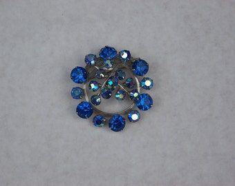 Vintage Blue Rhinestone Pin Brooch with AB (Aurora Borealis) Rhinestones