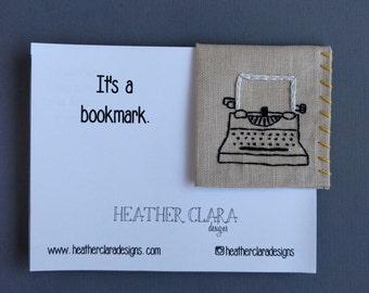 Hand Embroidered Linen Corner Bookmark - Typewriter