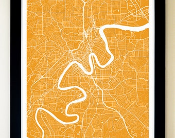 BRISBANE Map Art Print, Giclée Print, Brisbane Wall Art