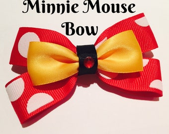 Minnie Mouse - Disney Inspired Clip in Hair Bow or Bow Tie - Size Medium