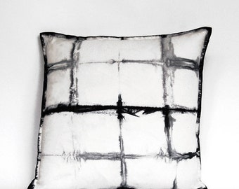 hand dyed Shibori tie dye grid pillow in black and white, one of a kind