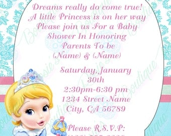 cinderella baby shower invitations