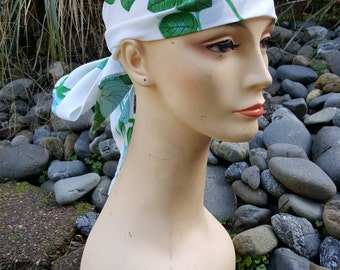 Blue Green White Floral Flowy Head Scarf 66 inches Long