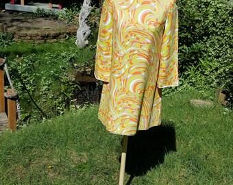 Sixties Mini Mod Dress Psychedelic Orange Yellow Lime Green Size Medium 8 10
