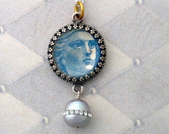Vintage Postage Stamp Jewelry: Marianne 3 Pendant Necklace