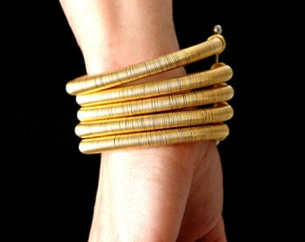 Tribal Wire Wrapped African Gold Bracelet, Gold or Silver, Cuff, Bangles, African Jewelry, Statement Piece