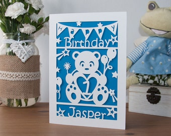Personalised Baby Birthday Card Paper Cut 5x7 Inches