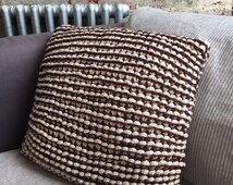 Hand knitted chunky texture cushion - brown and beige sofa throw pillow - striped garter stitch in cotton and merino mix