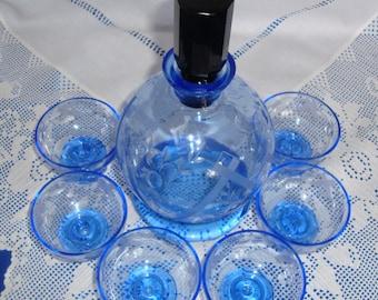 Sky Blue ART DECO Liqueur Set Decanter & Six Glasses Czech Modernist Art Deco Decanter , Liqueur Bottle and 6 Glasses Karl Palda Inspiration