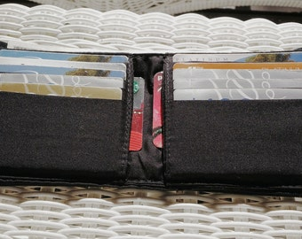 Men's Fabric Bifold Wallet Black/Brown Handmade Durable
