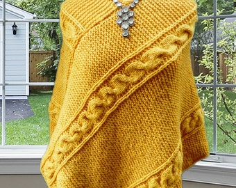 Gold Cable Knit Poncho