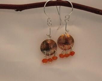 copper disk earrings,carnelian beads,patina