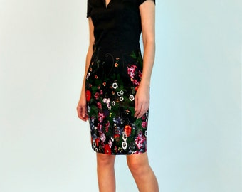 Black  dress with flower print Short sleeves Flower dress Casual dress Summer dress