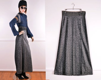 70s Metallic Gunmetal Skirt With Button Detail Down The Side