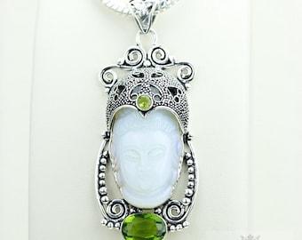 The Real Good Stuff! Kwan Yin Guanyin BUDDHA Goddess Face Moon Face 925 S0LID Sterling Silver Pendant + 4MM Chain & Free Shipping p3784