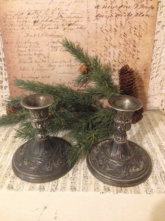 antique silver candle holders w m rogers silver plate. Black Bedroom Furniture Sets. Home Design Ideas