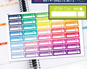Planner Stickers Erin Condren Life Planner (Eclp) - 40 Bill Due Budget Tracker Money Stickers (#6027)