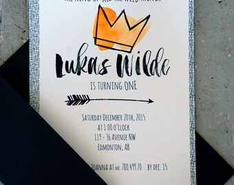 Birthday Boy Invites - Modern Calligraphy - Watercolor Accented - Card and Envelope - Where the Wild Things Are Theme