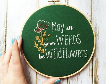 Wildflower Embroidery Hand embroidery Rustic home decor Custom embroidery Wildflower bouquet Wall decor Flower embroidery wall art