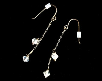 Delicate Crystal Beads on Chain Earrings with French Hook 10K Gold