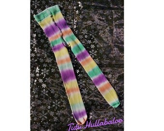 Girl's Striped Tights - Witch Tights - Tie Dyed Tights - Made to Match - Cotton Tights - Girl's Bright Tights