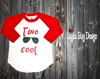 TWO cool raglan | Raglan tee for boys | Two Cool toddler shirt | Birthday party shirt | second birthday tee | boys second birthday