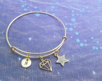 Diamond Bangle, Gold Plated Bracelet, Star Jewellery, Personalised Bangle, Star Charm, Blingy Jewelry, Pretty Bangle, Fashionista Gifts