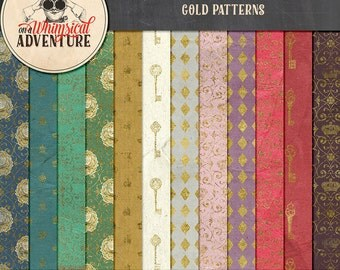 Gold patterns Alice In Wonderland digital scrapbook papers, digital download, 12x12 printable papers, vintage ephemera Wonderland