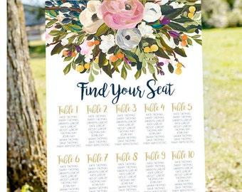 seating chart sign, Wedding seating chart, printable seating chart, find your seat sign, wedding seating charts, engagement seating chart