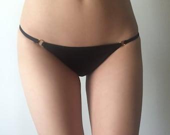 Black Cheeky Bikini Bottom with Gold Rings - Sexy Lingerie Inspired Bikini - Cute Black and Gold Bikini - Minimal Coverage Rainbow Bottoms