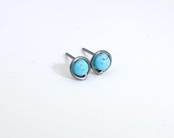 Small turquoise stud earrings, niobium stud earrings, niobium studs, tiny studs, minimal earrings, turquoise earrings, small stud earrings