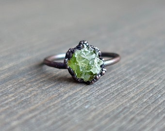 Raw peridot ring, Raw ring, Raw crystal ring, Peridot jewelry, Electroformed ring, Raw stone ring, raw mineral ring, peridot ring