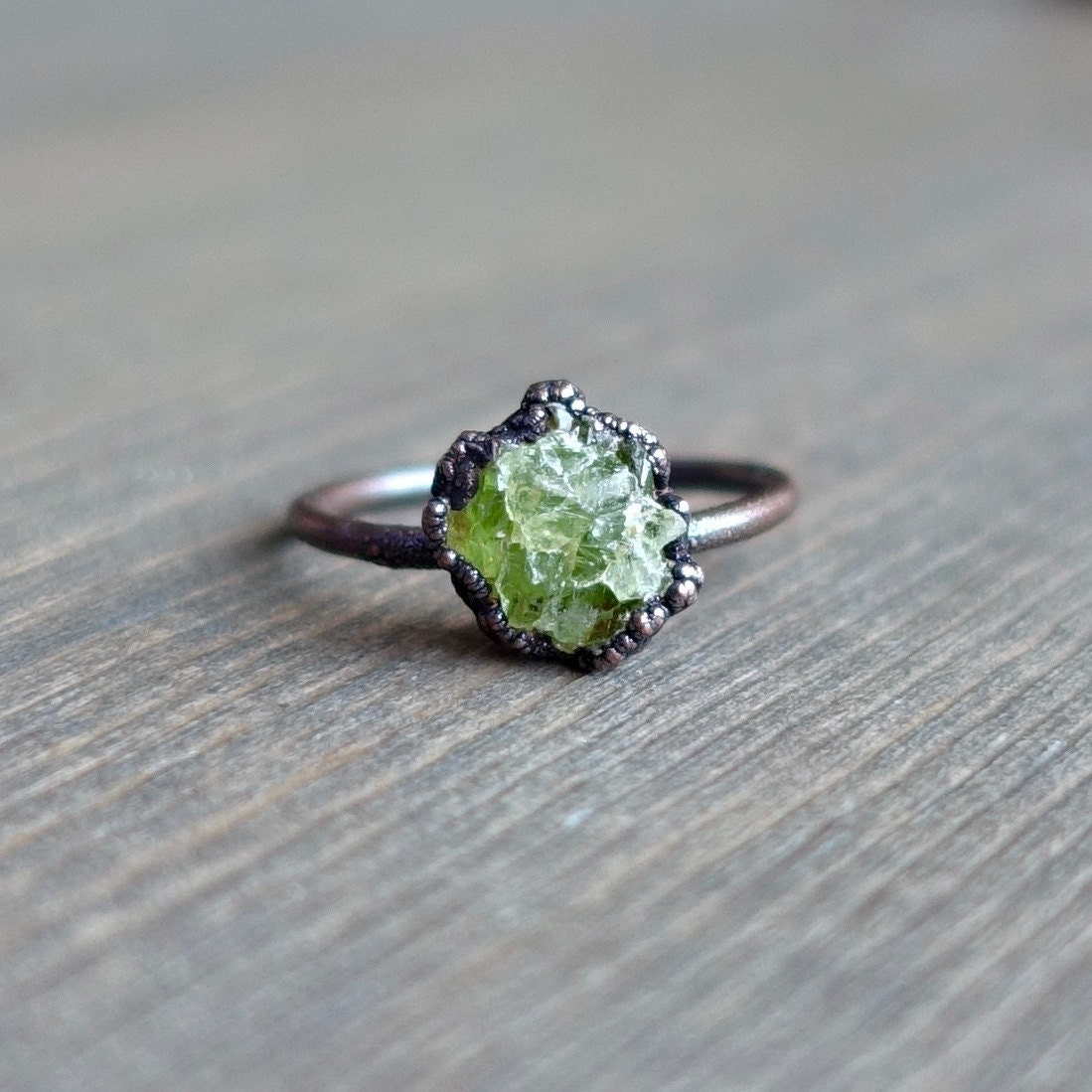 Raw Peridot Ring Raw Ring Raw Crystal Ring Peridot Jewelry