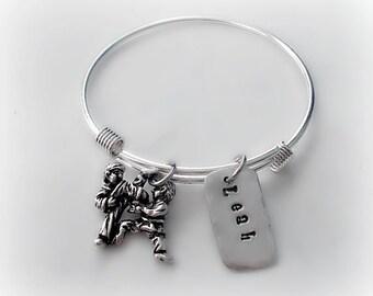 Hand Stamped Karate Personalized Name Bangle Bracelet // Kendo Bracelet // Jujutsu Jewelry // Customized Martial Arts Bracelet // Expandable