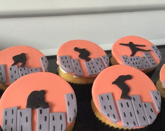Parkour Cupcake Toppers - Set of 12