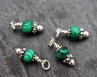 Malachite Charms / Dangles. Set of 2 or 3. Earring Components, Sterling Silver