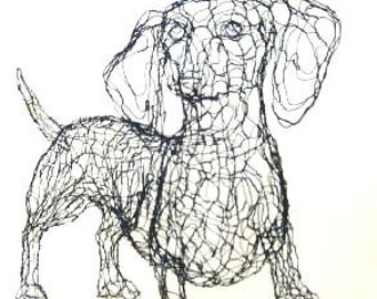 3D Dachshund Wire Sculpture by Elizabeth Berrien