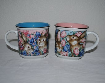 Toddlers Cups, Hand decorated/Painted Kids Cups with Handles, Boy and Girl Pair with Bunnies and Tulips and Lilies, Easter