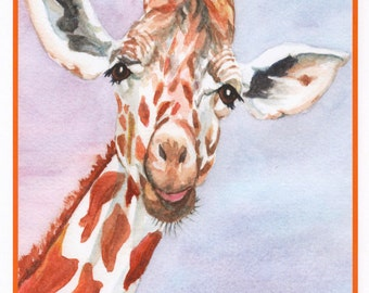 Birthday Giraffe Card.  Inside card:  Happy Birthday to a real standout!