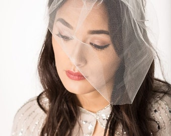 Tulle birdcage veil- ivory or white - wedding veil - blusher