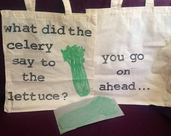Celery Joke Block Printed Tote Bag