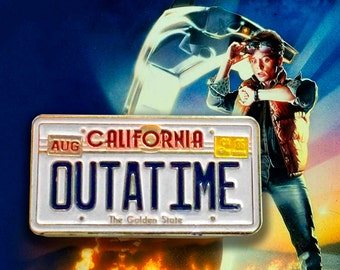 OUTATIME soft enamel lapel PIN / Back To The Future Movie prop / Delorean time machine license plate Doc Marty / #Miner49ers by BUNCEandBEAN