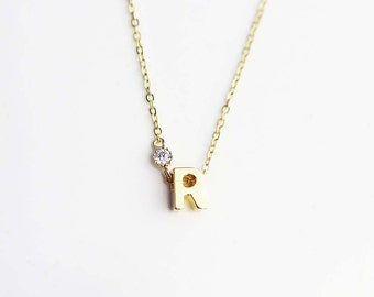 Alphabet Initial Charm Necklace with CZ / Monogram alphabet name necklace