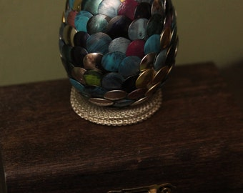 Handmade Dragon Egg with wooden casket - Pink Blue Green Gold Pink Yellow - Game of Thrones - Harry Potter - Lord of the Rings