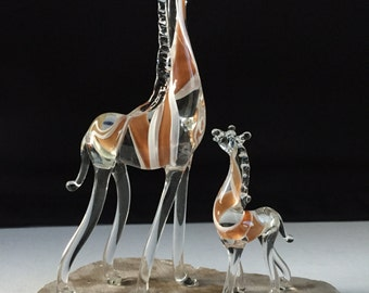 Handblown Glass Giraffe and Baby Sculpture