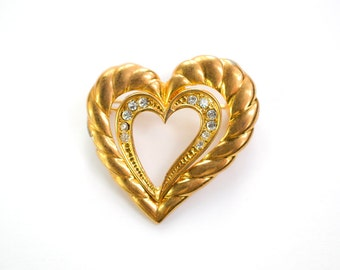 French Vintage heart brooch with rhinestones - vintage jewelery