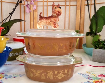 Pyrex TWO Vintage Pyrex Early America Casserole Dishes with Lid Early America Gold and Brown American Pyrex Lid Brown Pyrex America Pyrex
