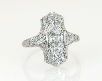 Antique Vintage Estate 18k White Gold .20ct Genuine Diamond Art Deco Engagement Ring 2.5g