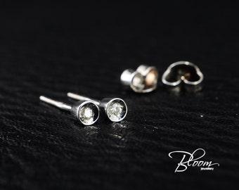 Small Diamond Stud Earrings 18K Solid Gold Studs Tiny Diamond Studs Delicate Diamond Earrings Real Diamond Stones - Bloom Jewellery